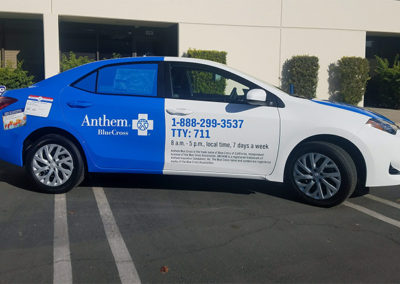Car Wrap- Anthem Blue Cross-Corolla